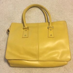 Ann Taylor Yellow Leather Tote